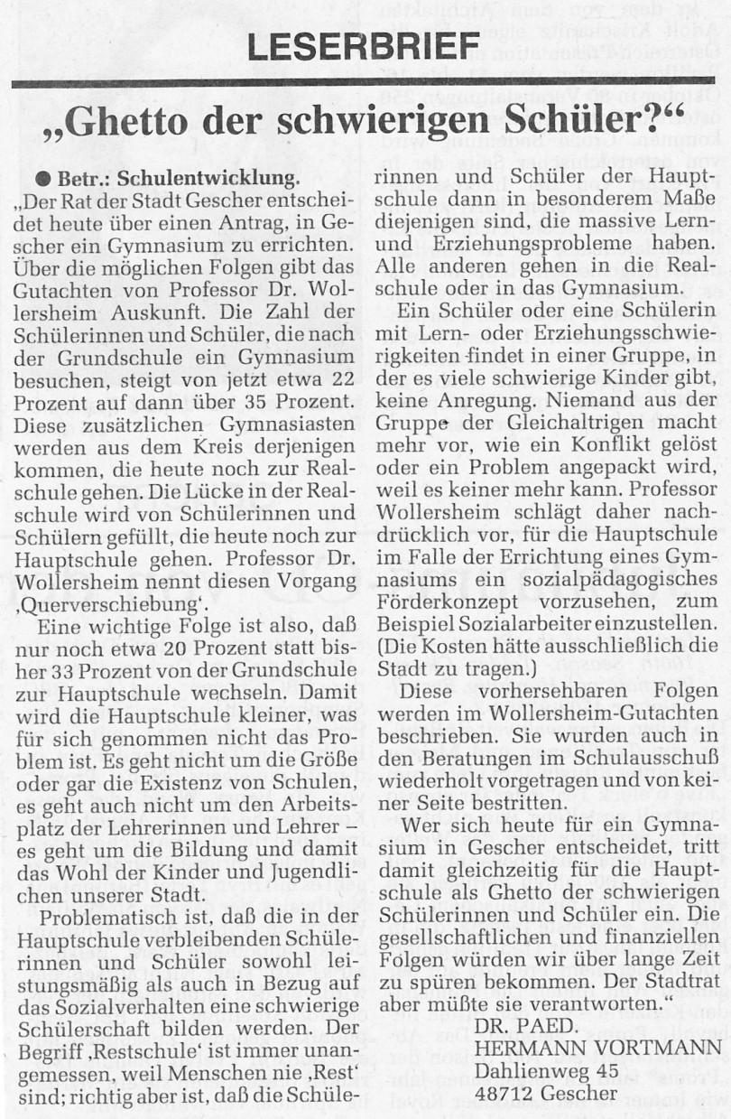 Leserbrief Gymnasium in Gescher (2)